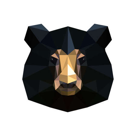 low: Illustration of abstract origami black bear portrait