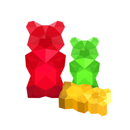 gummy:  Illustration of colorful origami gummy bears isolated on white background