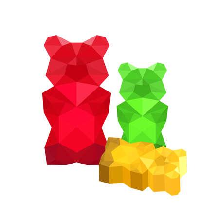 Illustration of colorful origami gummy bears isolated on white background
