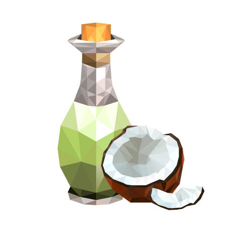 aromatherapy oil: Illustration of geometric polygonal coconut oil bottle