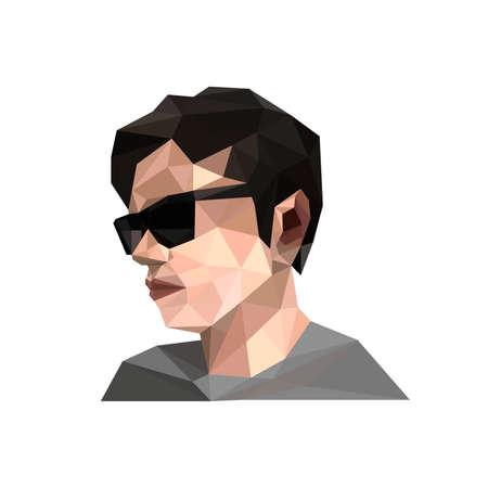 Illustration of geometric polygonal men with sunglasses Vector