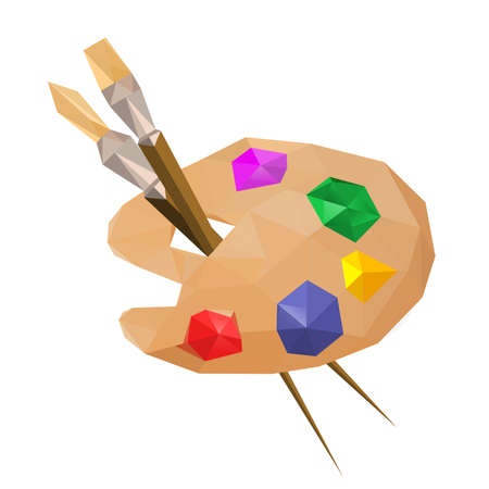 Illustration of geometric polygonal painting palette with paintbrushes