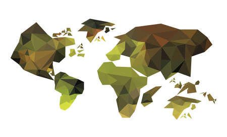 Illustration of geometric polygonal world map Vector