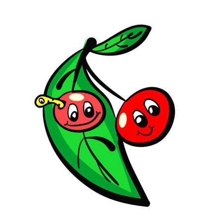 Illustration of hand drawn naive cherries  Vector