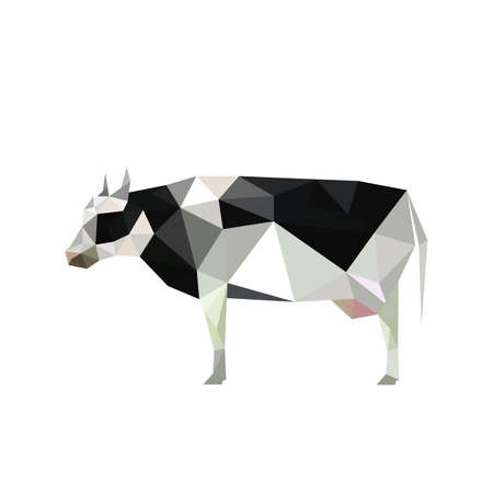 low: Illustration of origami cow with spots isolated on white background