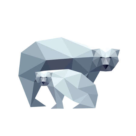 Illustration of polygonal bear with cub isolated on white background Vector