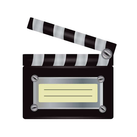 Illustration of realistic movie clapper isolated on white background Vector