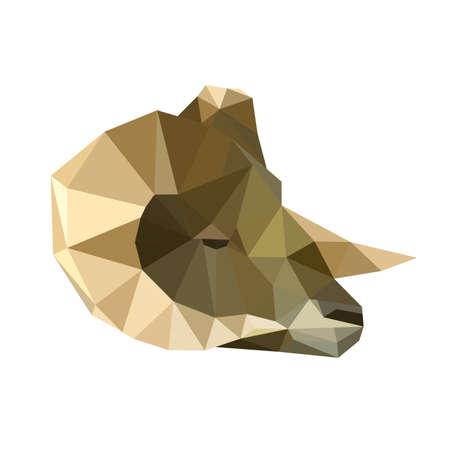 hoofs: Illustration of abstract origami ram portrait Illustration