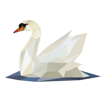 Illustration of abstract origami swan on lake