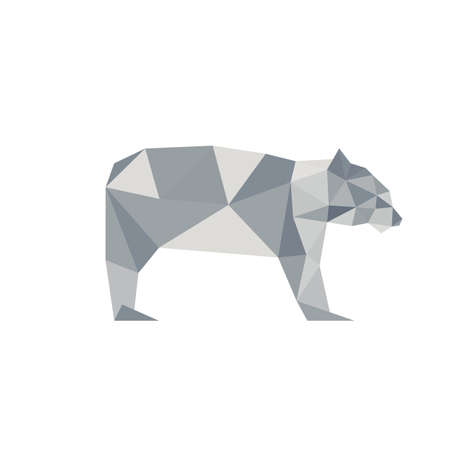Illustration of abstract origami polar bear, isolated on white background Vector