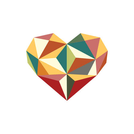 Illustration of colorful origami heart isolated on white background Ilustrace