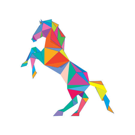 Illustration of colorful origami horse isolated on white background