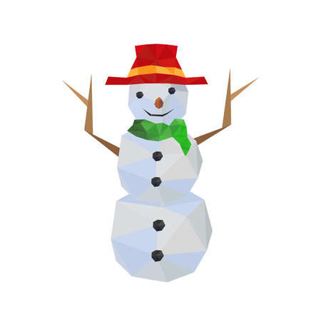 Illustration of funny origami snowman with red hat, isolated on white background