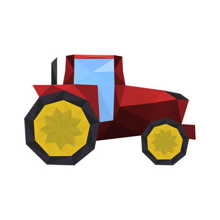 Illustration of polygonal red tractor isolated on white background Vector