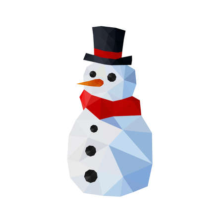 Illustration of funny origami snowman with joben and red scarf