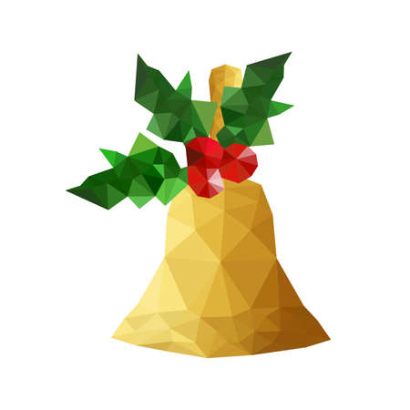shinning leaves: Illustration of origami bell with holly leaves