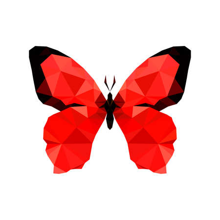 butterfly net: Illustration of red origami butterfly, isolated on white background Illustration