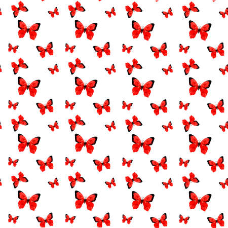 Illustration of seamless pattern with red origami butterfly Vector