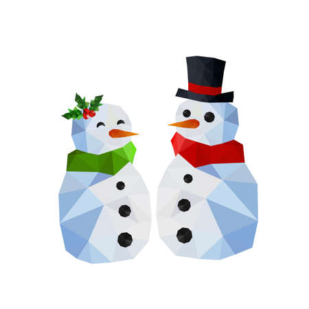 green tophat: Two funny snowman