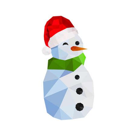 Illustration of funny origami snowman with santa hat
