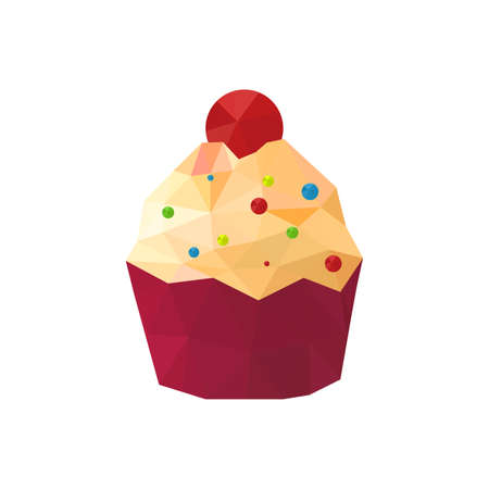 Illustration of origami cupcake with sprinkles Vector