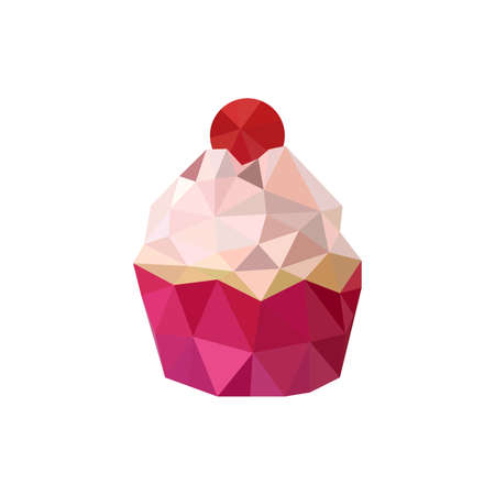 Illustration of pink origami cupcake isolated on white background Vector