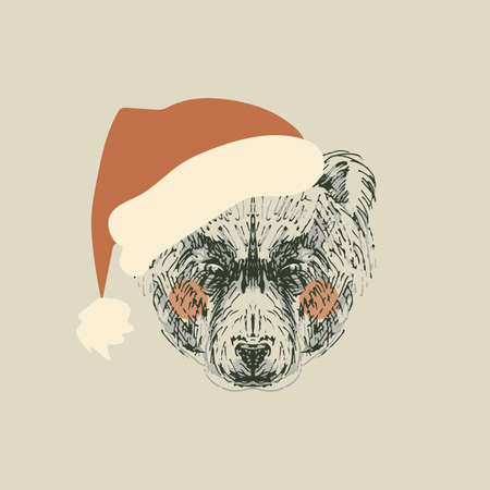 Illustration of retro bear with santa hat isolated on white background Vector