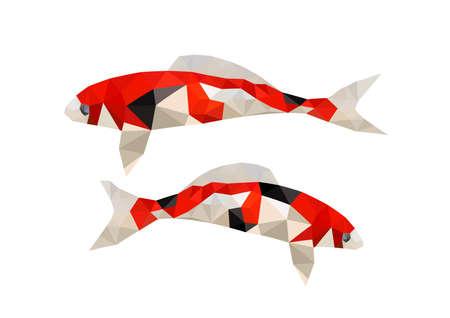 koi: Illustration of two origami koi fish