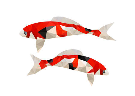 Illustration of two origami koi fish