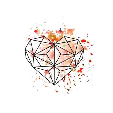 水彩画背景に幾何学的な心臓のイラスト