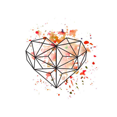 shiny heart: Illustration of geometric heart on watercolor background