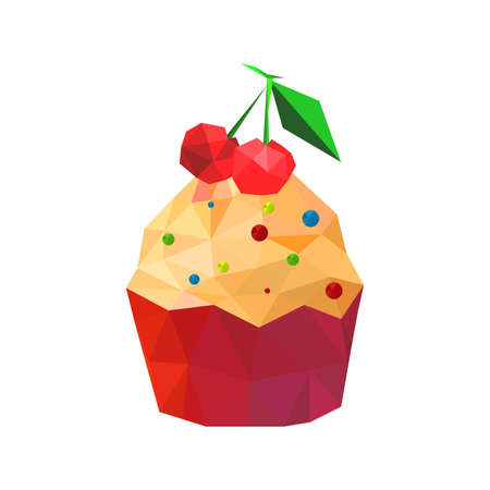 Illustration of origami cupcake with cherries isolated on white background Vector
