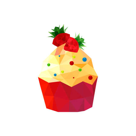 Illustration of origami cupcake with strawberries isolated on white background Vector