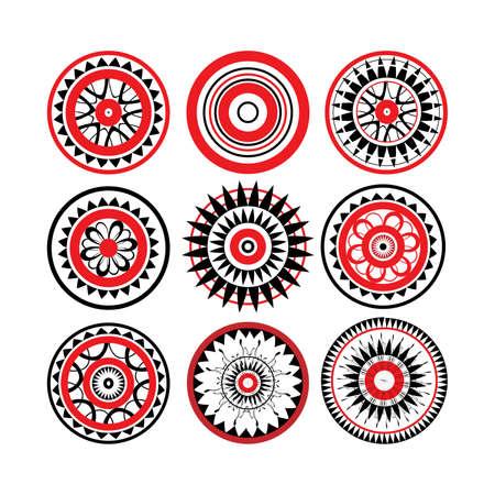 白い背景に分離された赤と黒のポリネシアン ・ タトゥー デザイン集  イラスト・ベクター素材