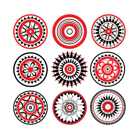 Collection of red and black polynesian tattoo design isolated on white background