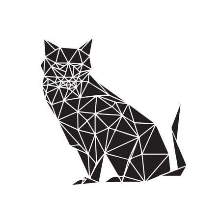 Illustration of monochrome origami cat isolated on white background Vector