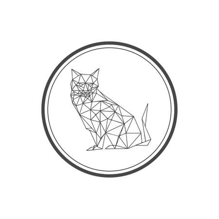 Illustration of origami cat symbol isolated on white background Vector