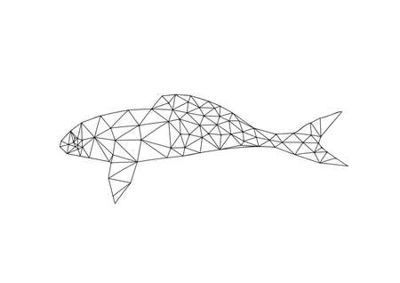 Illustration of origami fish outline isolated on white background