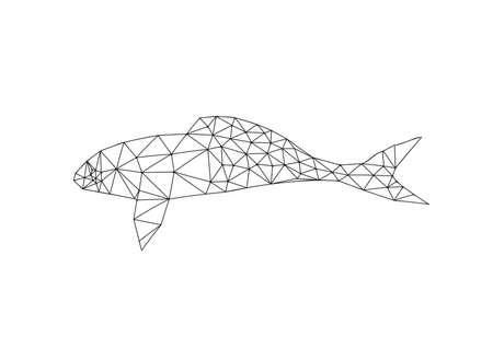 Illustration of origami fish outline isolated on white background