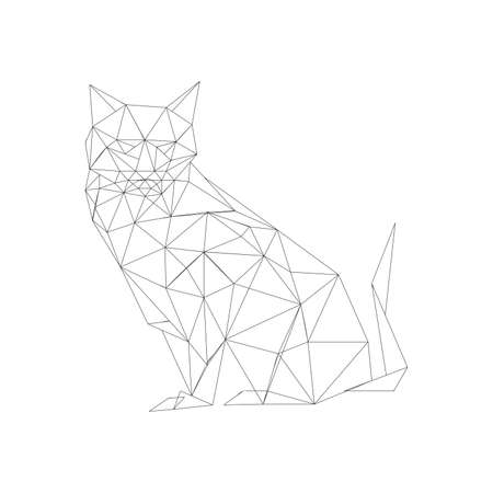 Illustration of outlined origami cat isolated on white background Vector