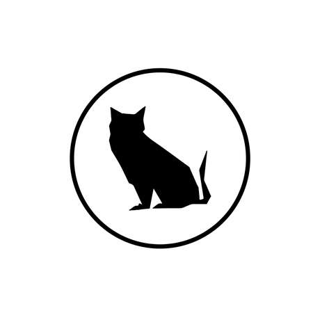 Illustration of paper cat symbol isolated on white background Vector