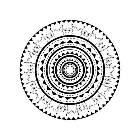 白い背景で隔離のポリネシアのタトゥーのデザインのイラスト 写真素材 - 38607681
