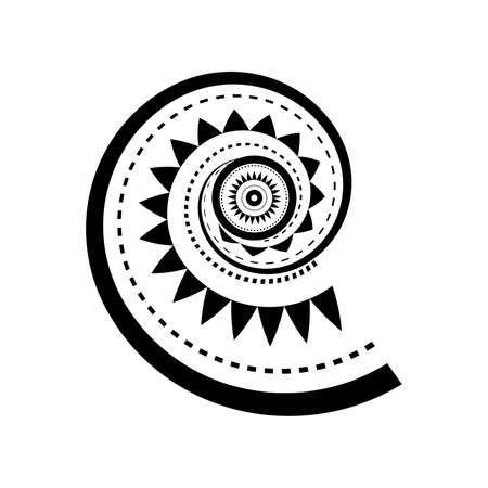 마오리 스타일의 나선형 문신 디자인 일러스트