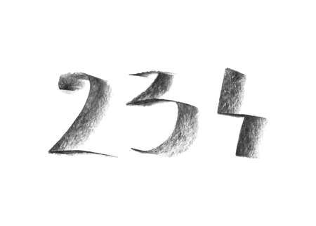 Illustration with hand drawn chalk numbers isolated on white background