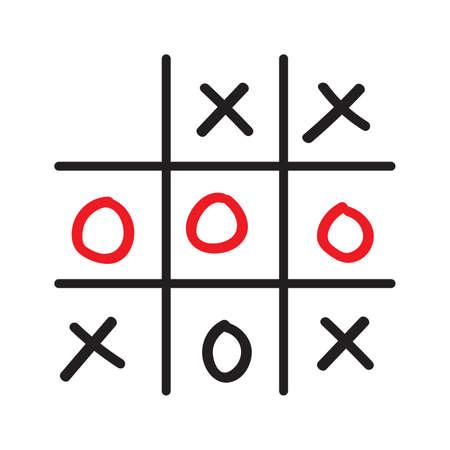 pedagogical: Illustration of doodle tic tac toe game isolated on white background
