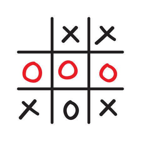 Illustration of doodle tic tac toe game isolated on white background