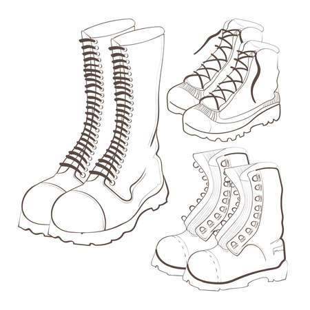 sexy army: Illustration of hand drawn doodle boots icon set isolated on white background