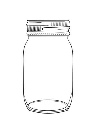 Illustration of hand drawn doodle jar isolated on white background