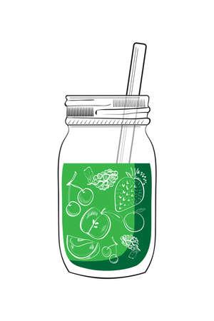 Ilustración de dibujado a mano tarro verde batido aislado en fondo blanco Ilustración de vector