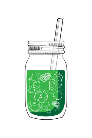 Illustration of hand drawn green smoothie jar isolated on white background
